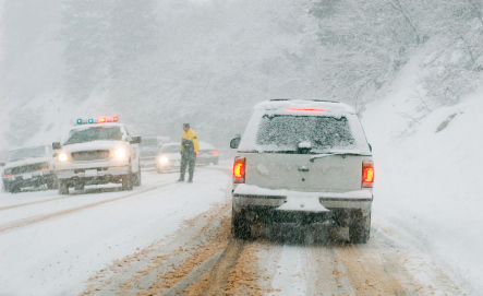 Driving in the snow in the mountains is hazardous–find more winter driving tips here.